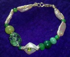 Pulsera Jade, perlas y malaquita.